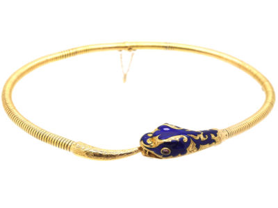 19th Century 14ct Gold & Blue Enamel Snake Necklace