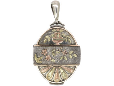 Victorian Silver & Two Colour Gold Overlay Flowers Locket