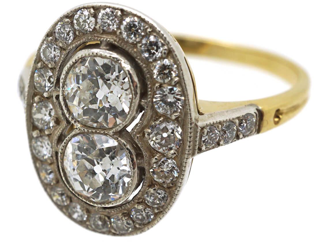 Art Deco 18ct Gold & Platinum Oval Diamond Ring