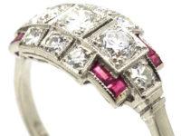 Art Deco Platinum, Ruby & Diamond Geometric Design Ring