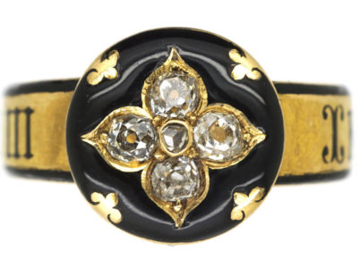 Victorian 18ct Gold, Diamond & Black Enamel Mourning Ring