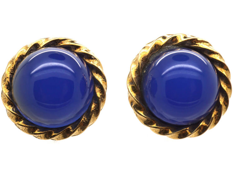 9ct Gold & Blue Chalcedony Round Earrings