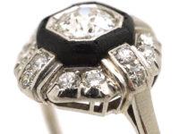 Art Deco Platinum, Diamond & Vulcanite Ring