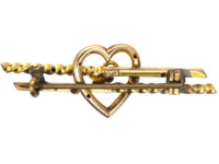 Edwardian 9ct Gold Brooch with Heart & Three Leaf Clover