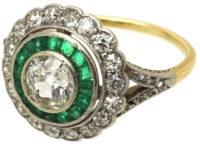 Art Deco 14ct Gold & Platinum, Diamond & Emerald Target Ring