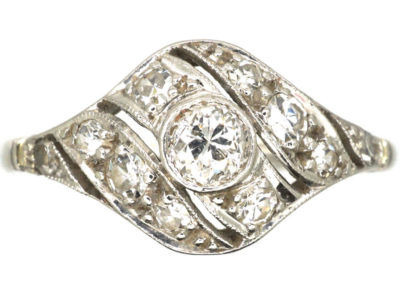 Art Deco Platinum & Diamond Twist Ring