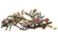 Victorian Diamond & Ruby & Natural Pearl Spider & Bee Brooch