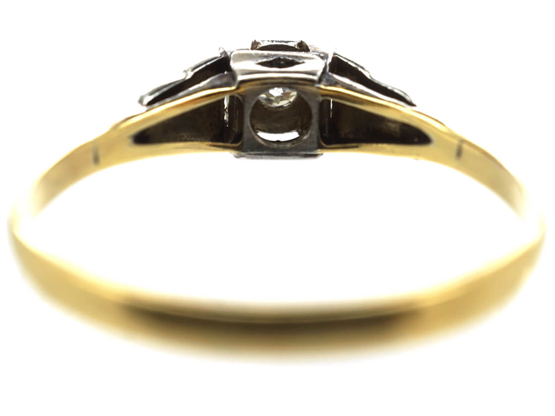 Art Deco 18ct Gold & Platinum Solitaire Diamond Ring with Stepped Shoulders