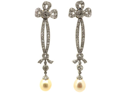 Edwardian Platinum, Diamond & Pearl Drop Earrings with Bow Drops