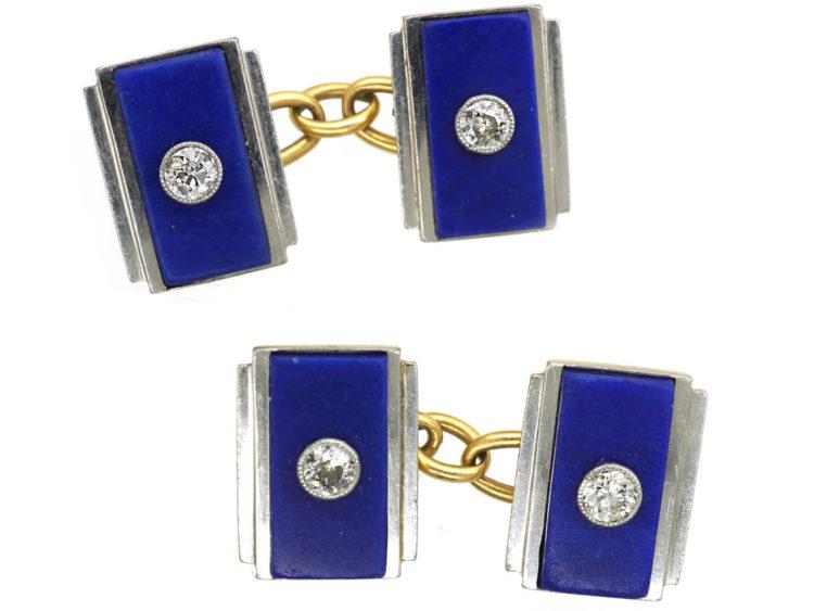 Art Deco 18ct Gold & Platinum, Lapis & Diamond Rectangular Cufflinks
