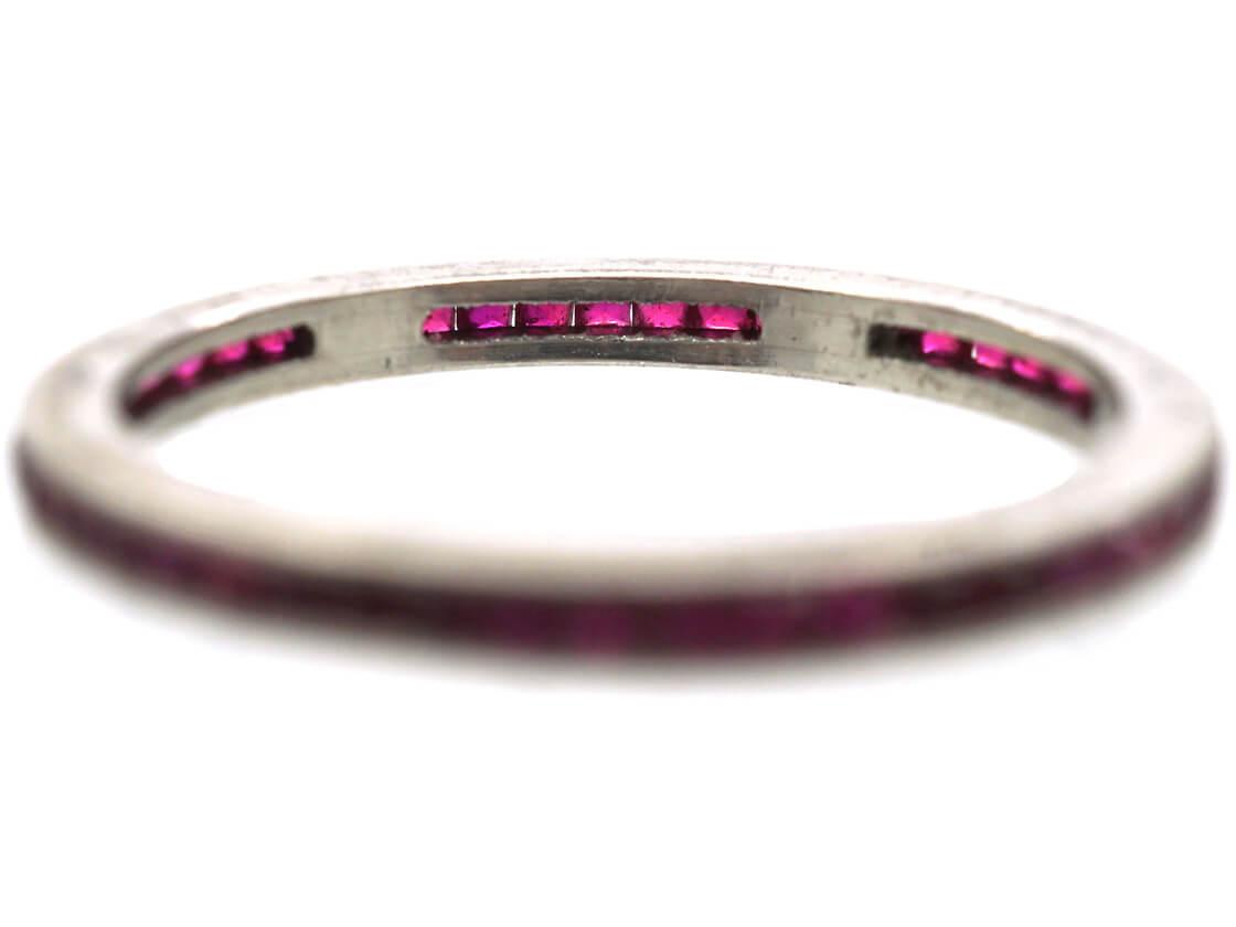 Art Deco Platinum Narrow French Cut Ruby Eternity Ring