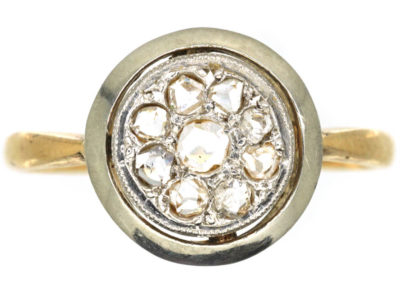 Art Deco 18ct Gold & Platinum Cluster Ring