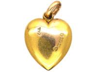 Edwardian 15ct Gold Rose Diamond & Opal Heart Shaped Pendant