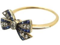 Art Deco 18ct Gold, Sapphire, Diamond & Rose Diamond Bow Ring