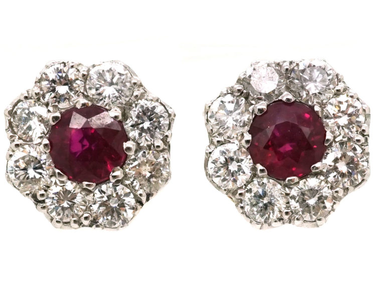 18ct White & Yellow Gold, Ruby & Diamond Cluster Earrings