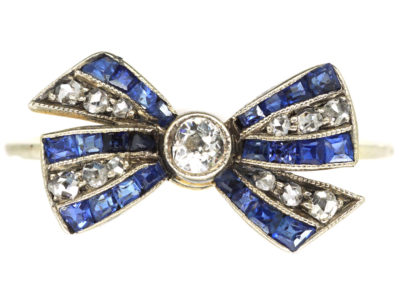Art Deco 18ct Gold, Sapphire, Diamond & Rose Diamond Bow Ring