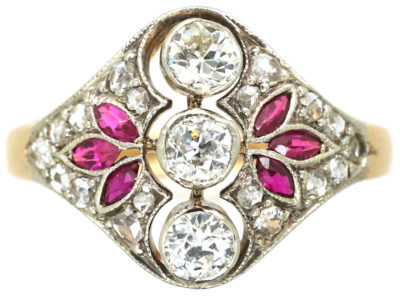 Art Deco 14ct Gold & Platinum, Ruby & Diamond Ring