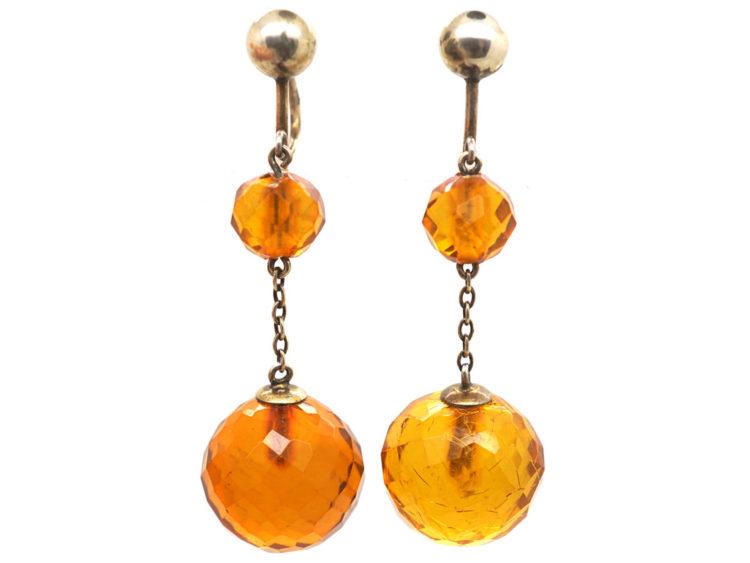 Edwardian Silver & Faceted Amber Drop Earrings