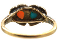 Victorian 18ct Gold Double Heart Ring set with Rose Diamonds, Turquoise & Coral