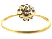 Art Deco 18ct Gold & Platinum, Diamond Criss Cross Design Cluster Ring