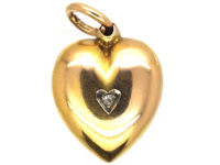 Edwardian 15ct Gold Heart Pendant Set with a Diamond in a Heart Shaped Setting