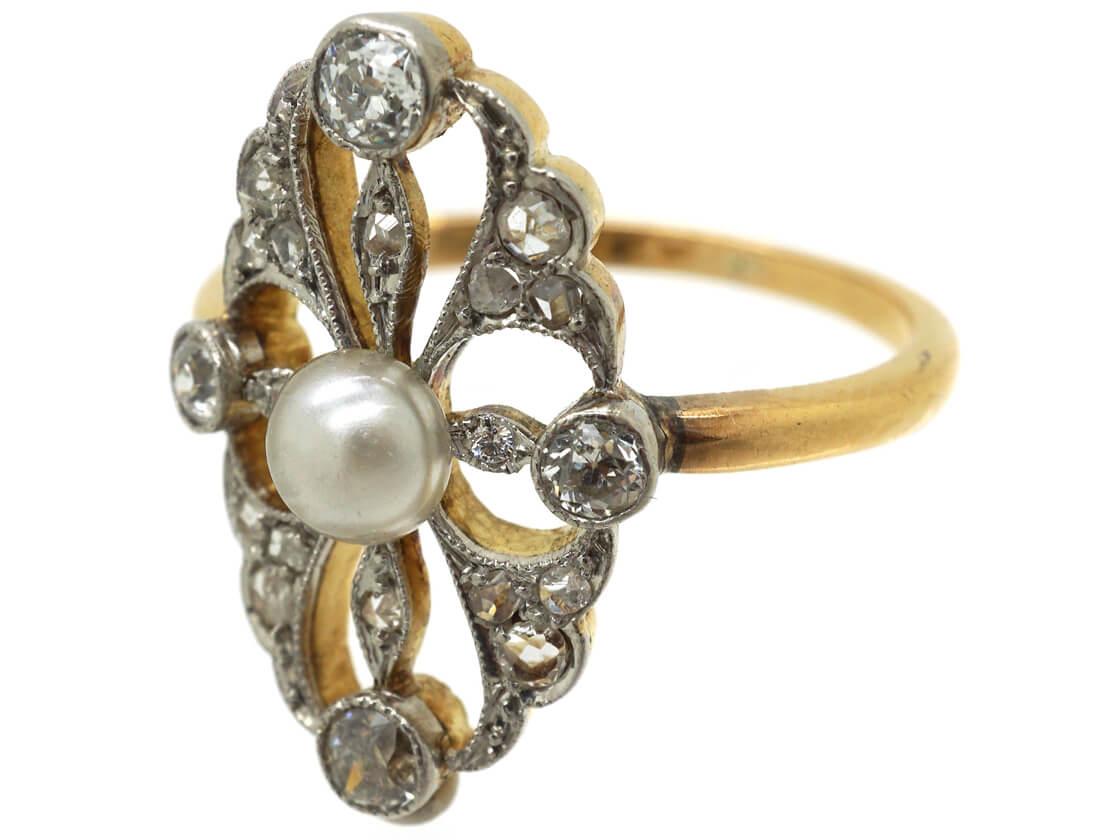 Edwardian 14ct Gold & Platinum, Pearl & Diamond Ring