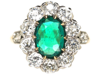 Edwardian 18ct Gold Columbian Emerald & Diamond Cluster Ring