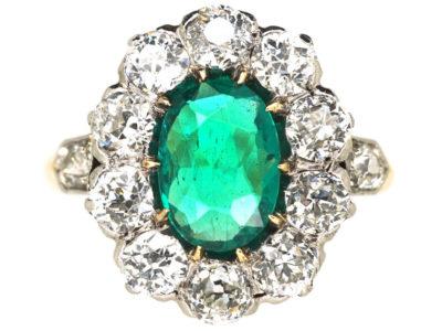 Edwardian 18ct Gold Columbian Emerald & Diamond Cluster Ring