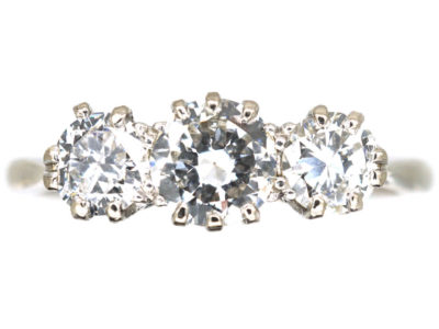 Art Deco Platinum, Three Stone Diamond Ring