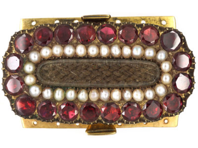 Large Georgian 9ct Gold, Flat Cut Almandine Garnet & Natural Split Pearls Clasp