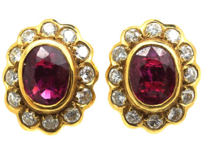 18ct Gold Ruby & Diamond Oval Cluster Earrings