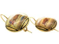 19th Century 18ct Gold & Enamel Bull & Matador Earrings