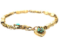 Georgian 15ct Gold & Turquoise Bracelet with Hand Clasp & Heart in Original Case