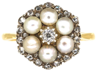 Edwardian 18ct Gold Natural Pearl & Diamond Cluster Ring