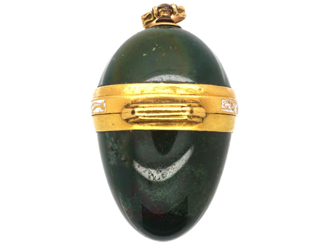 Georgian 18ct Gold, Enamel & Bloodstone Opening Bomboniere Pendant