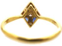 Art Deco Sapphire & Diamond, Diamond Shaped Ring