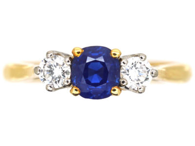 18ct Gold, Sapphire & Diamond Three Stone Ring