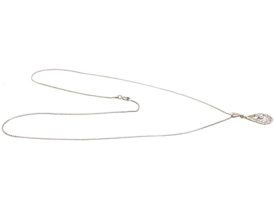 French 18ct White & Yellow Gold Art Deco Diamond Pendant on 18ct White Gold Chain