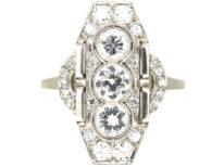 Art Deco Platinum & Diamond Geometric Ring