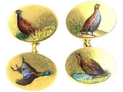 18ct Gold & Enamel Game Bird Cufflinks by Cropp & Farr