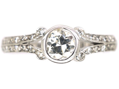 18ct White Gold Solitaire Diamond Ring with Pave Set Diamond Shoulders
