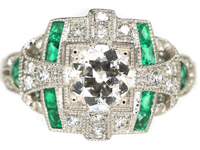 Art Deco 18ct White Gold Emerald & Diamond Ring