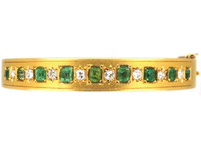 Victorian 18ct Gold Emerald & Diamond Bangle
