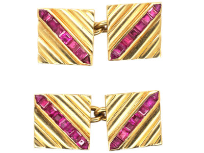 18ct Gold & Ruby Square Cufflinks