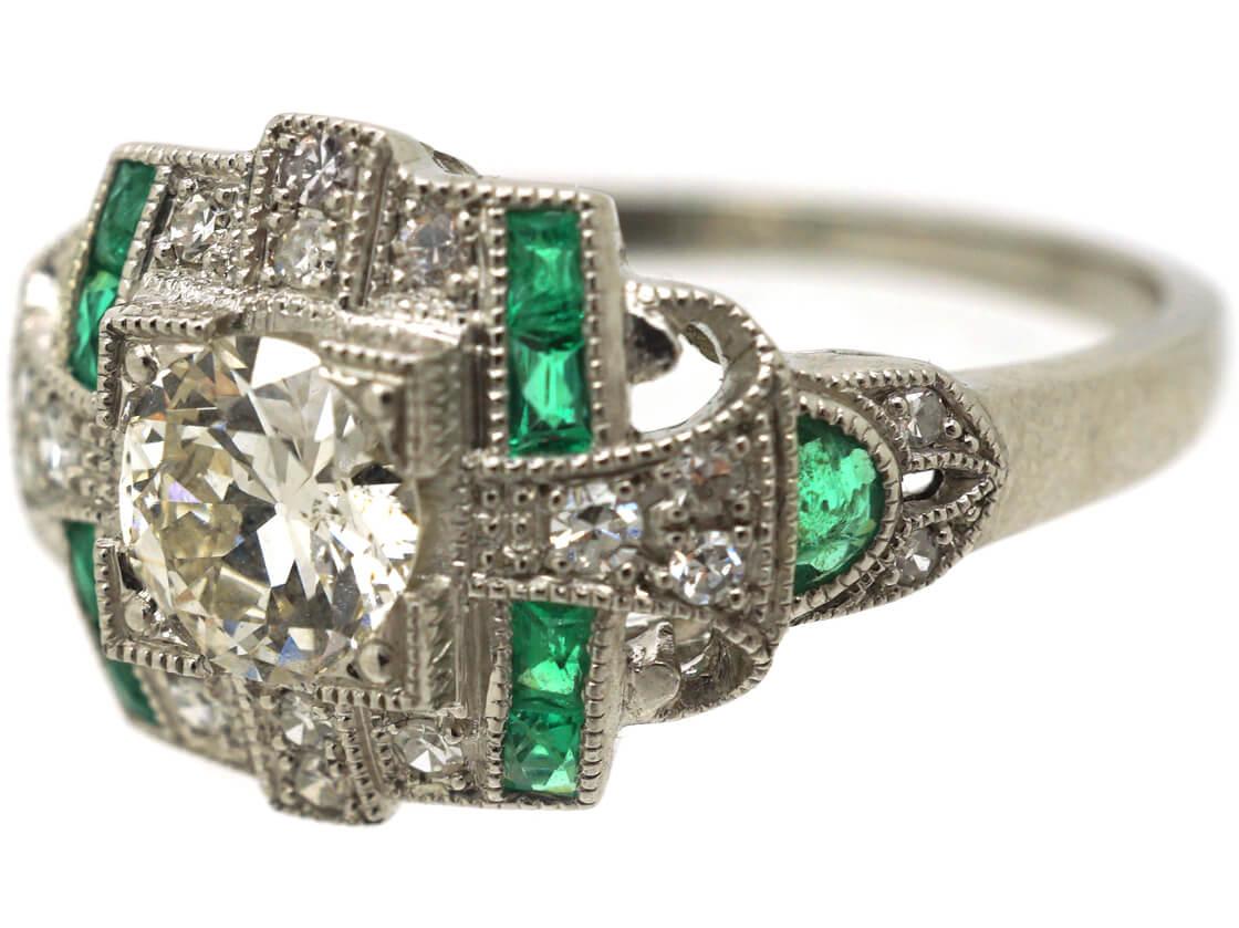 Art Deco 18ct White Gold Emerald & Diamond Ring