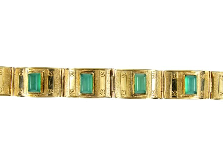 Green Crysoprase 14ct Gold Art Deco Bracelet