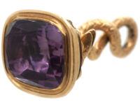 Georgian 15ct Gold Cased Snake Seal with Plain Amethyst Base