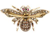 Victorian Diamond, Ruby & Sapphire Bee Brooch