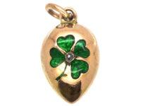 Edwardian 15ct Gold Egg Pendant With Green Enamel & Rose Diamond Shamrock