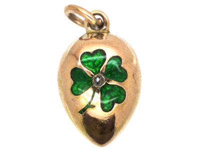 Edwardian 15ct Gold Egg Pendant With Green Enamel & Rose Diamond Shamrock